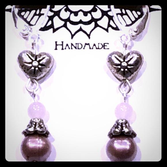 Rose Quartz Starburst Heart Earrings
